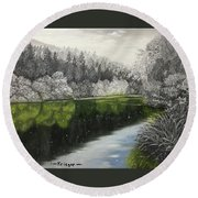 Grayscale The River Round Beach Towel
