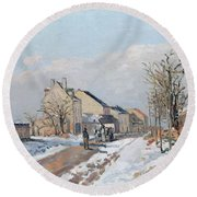 The Road From Gisors To Pontoise Round Beach Towel by Camille Pissarro