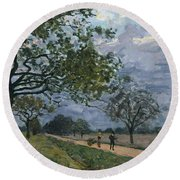 The Road From Versailles To Louveciennes Round Beach Towel