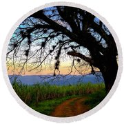 The Road Less Traveled Round Beach Towel by Skip Hunt