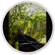 The Road Through Glenastar Round Beach Towel