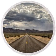 The Road To Death Valley Round Beach Towel