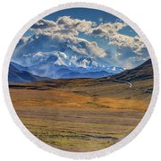 The Road To Denali Round Beach Towel