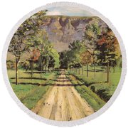 The Road To Evordes Round Beach Towel