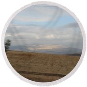 The Road To Galilee Round Beach Towel