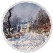 The Road To Giverny In Winter Round Beach Towel by Claude Monet
