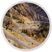 The Road To Izoard Pass - 2 - French Alps Round Beach Towel