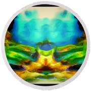 The Road To Paradise Round Beach Towel