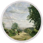 The Road To Sevres Round Beach Towel
