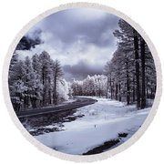 The Road To Snow Round Beach Towel