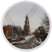 The Road To The Temple In The Early Spring. Round Beach Towel