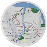 The Rochester Pubway Map Round Beach Towel