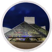 The Rock And Roll Hall Of Fame At Dusk Round Beach Towel