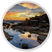 The Rock Bonsai During Sunset  Round Beach Towel