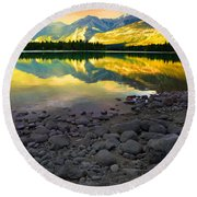 The Rockies Reflected At Lake Annettee Round Beach Towel