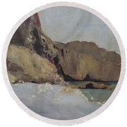 The Rocks At Vallieres Round Beach Towel