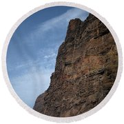 The Rocks Of Los Gigantes 2 Round Beach Towel
