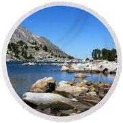 The Rocks Of Treasure Lake Round Beach Towel