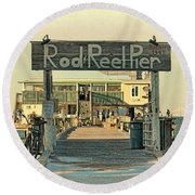 The Rod And Reel Pier Vintage   Round Beach Towel