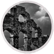 The Roman Aqueduct At Aspendos, Turkey.    Black And White Round Beach Towel