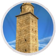 The Roman Lighthouse Known As Tower Of Hercules Round Beach Towel