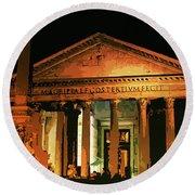 The Roman Pantheon At Night Round Beach Towel