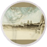 The Roofs Of Paris Round Beach Towel