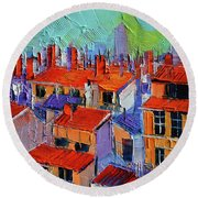 The Rooftops Round Beach Towel