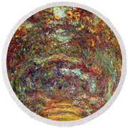 The Rose Path Giverny Round Beach Towel by Claude Monet