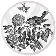 The Roses And The Sparrow Round Beach Towel