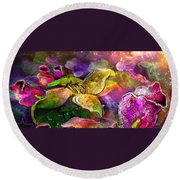 The Roses In The Sheep Dream Round Beach Towel