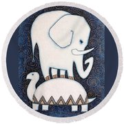 An Elephant On A Turtle Round Beach Towel