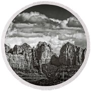 The Rugged Red Rocks In Black And White  Round Beach Towel