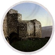 The Ruins Jezreel Holy Land Round Beach Towel