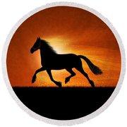 The Running Horse Background Round Beach Towel