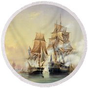 The Russian Cutter Mercury Captures The Swedish Frigate Venus On 21st May 1789 Round Beach Towel