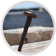 The Rusted Spike Round Beach Towel