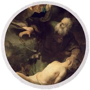 The Sacrifice Of Abraham Round Beach Towel by Rembrandt