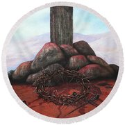 The Sacrifice Of His Love Round Beach Towel