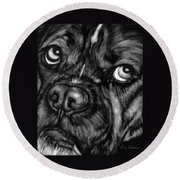 The Sad Boxer Round Beach Towel