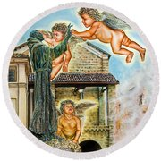 The Saint And The Angels Round Beach Towel