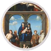 The Saint Anne Altarpiece From San Frediano Lucca Round Beach Towel