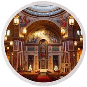 The Sanctuary Of Saint Matthew's Cathedral Round Beach Towel