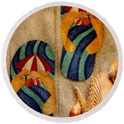 The Sands Of Summer - Flip Flops Round Beach Towel