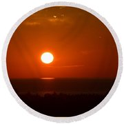 The Saugatuck Sunset Round Beach Towel