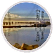 The Saugus River At Dawn Round Beach Towel