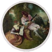 The Scale Of Love Round Beach Towel by Jean-Antoine Watteau