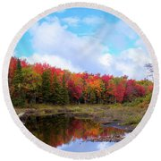 The Scarlet Reds Of Autumn Round Beach Towel