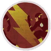 The Scarlet Speedster Round Beach Towel by Michael Myers