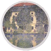 The Schloss Kammer On The Attersee IIi Round Beach Towel